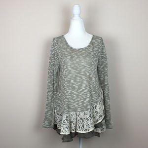 Entro - Melange Knit Lace Ruffle Hem L/S Tunic
